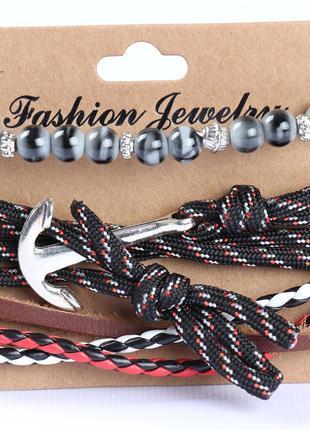Классный мужской набор браслетов с якорем2
