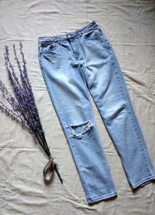 Актуальные рваные джинсы момы с высокой посадкой,  джинсы бойфренд