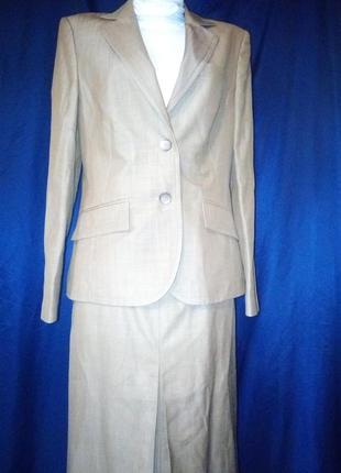 Деловой офисный костюм юбка миди осенний осень
