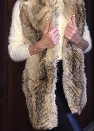 Меховая жилетка из меха степного волка / натуральный мех / мех жилетка