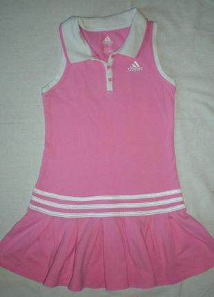 Платье поло фирмы adidas оригинал из сша розовое спортивное р.6 хлопок сарафан летнее