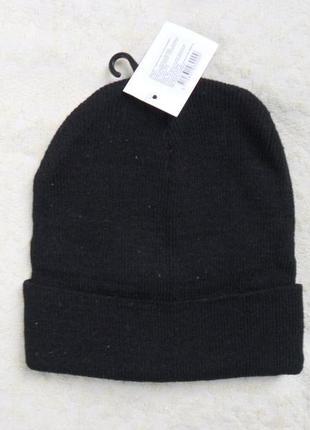 Новая черная шапка стойка бини с отворотом, размер универсальный (много цветов).