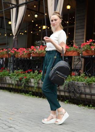 Женский рюкзак маленький чёрный для учебы, прогулок