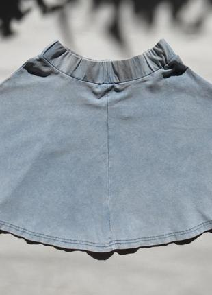 Джинсовая юбка  солнце / клеш