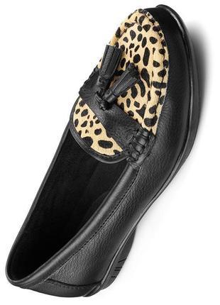 Туфли, мокасины в актуальные принт из натуральной кожи р.4/36, стелька 23см