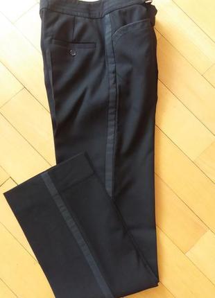 Шерстяные теплые брюки черные с лампасами strenesse раз.38