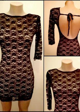 Черное кружевное гипюровое ажурное платье открытая спина кружево гипюр ажур сукня чорна