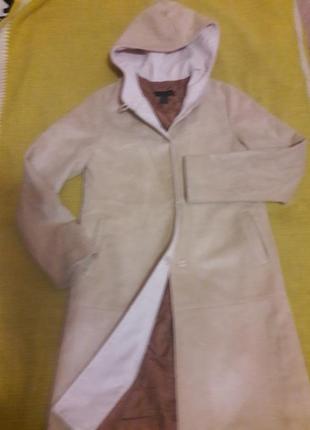 Пальто замша песочное капюшон разм.xs