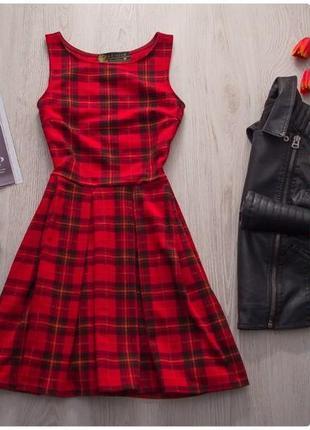 Красное платье клетка клеточка клетчатое червона сукня клітинка шотландский юбка солнце