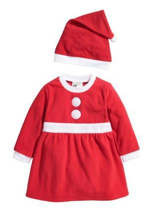 Новий флісовий новорічний новогодний костюм від h&m на ріст 68 і 74 см.