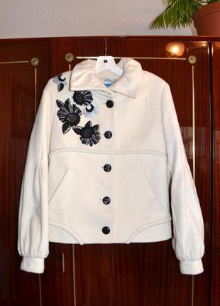 Теплое нарядное полупальто, пальто raslov, размер 36
