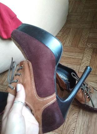 Ботильоны туфли высокий каблук стильные замшевые