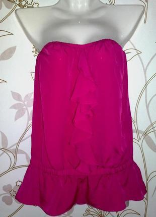 Шелковая летняя блузка без бретелей, цвет pink660, впереди волан-галстук