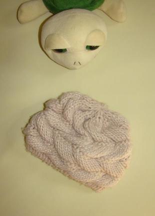 Пудровая шапуля с объемными косами малышке 1-2 года