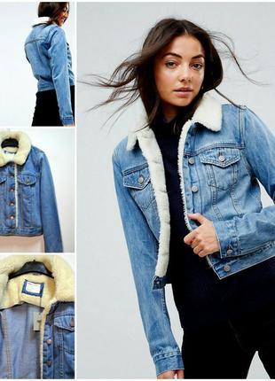 Стильная джинсовая куртка с меховым воротником asos denim