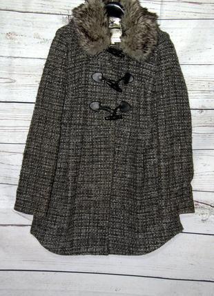 Стильное твидовое  пальто дафлкот премиум-класса от new look с капюшоном