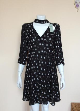 Платье в сердечках с чокером мinimum чокер свободное летнее asos h&m