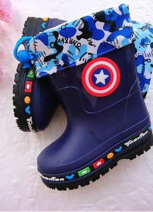 Детские синие резиновые сапоги для мальчика captaine america со съемным носком ввт