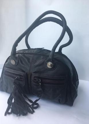 Добротная вместительная кожаная сумка дорого бренда ted baker, натуральная кожа