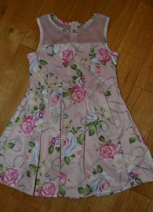 Роскошное платье плиссе с декором на девочку 6-7 лет! хлопок!