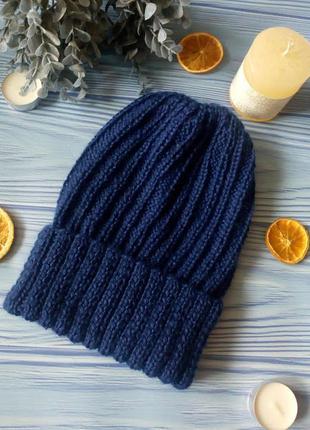 Синяя шапка с отворотом шерсть+кашемир hand made