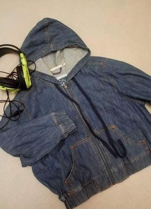 Короткая джинсовая куртка пиджак с капюшоном george