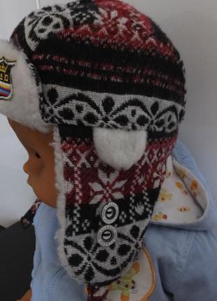 Зимняя трикотажная шапка ушанка childrens place сша на 1 - 3 года разм. 86 - 92
