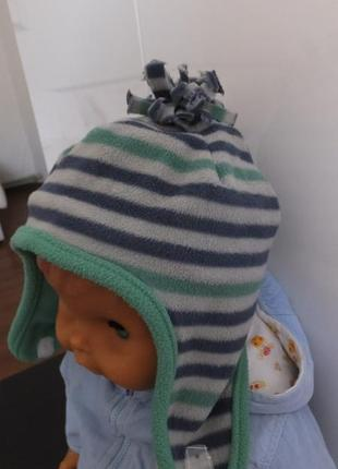 Зимняя полосатая флисовая шапка mothercare с ушками размер 98 на 2 - 3 года