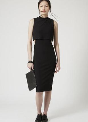 Стильно классическое черное платье миди с необычной талией на демисезон от topshop m-l