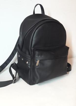 Городской черный рюкзак женский для прогулок с экокожи