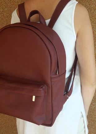 Бордовый вместительный женский рюкзак для учебы, прогулок, путешествий