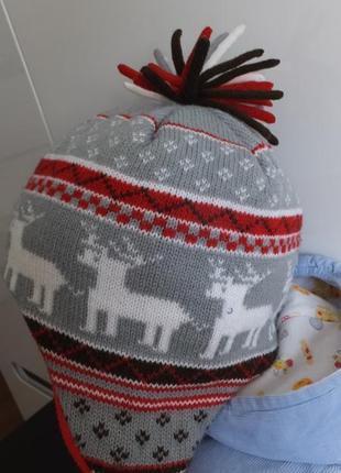 Теплая зимняя шапка размер 4 - 8 лет на ребенка ростом 101 - 131см
