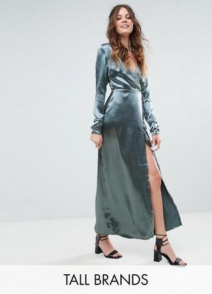 💎💖розпродаж колекції!  glamorous розкішна атласна бірюзова сукня-халат доставка сутки
