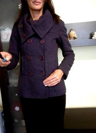 Полупальто, пальто h&m. размер хс-с фиолетовое демисезонное, шерсть