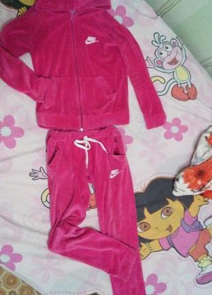 Спортивный костюм, велюровый, розовый, на 8-9-10 лет
