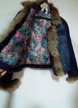 Модная,красивая ,тепленькая джинсовая куртка с мехом лисы,новая
