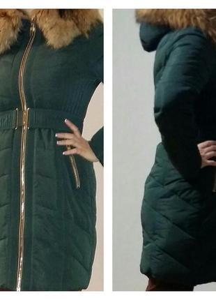 Зимнее пальто daser изумрудного цвета 46-48 размер
