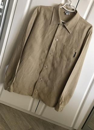 Невероятная льняная мужская рубашка цвета кемел