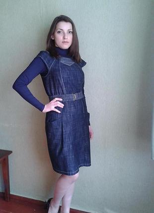 Сарафан синий платье синее