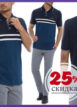 Мужское поло синее lc waikiki / лс вайкики поло с синим низом и белыми полосками
