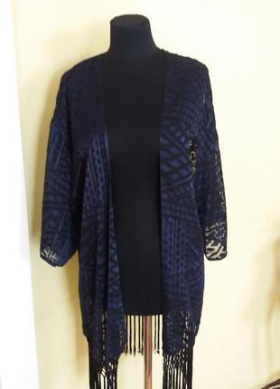 Нарядная кофта накидка  кимоно с кистями кардиган синий  c&a раз.40-42