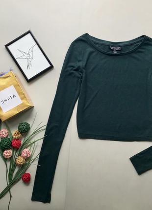 Стильный укороченый зелёный гольф в рубчик изумрудный свитер топ  водолазка/ кофточка