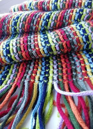 🌿шарф в стиле колор-блок 🌈длинный вязаный шарф