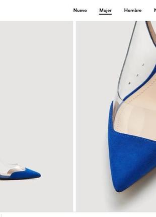 Синие  туфли mango 38p трендовый цвет royal blue