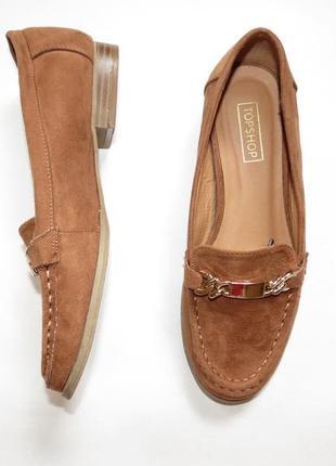 Стильные лоферы, туфли под замш на низком каблуке topshop