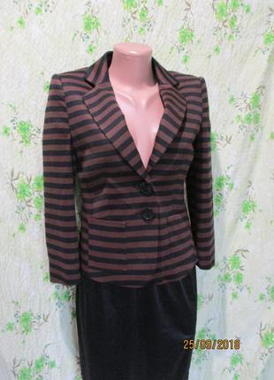 Пиджак жакет в полоску/укорочен рукав