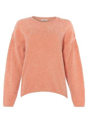 Персиковый шенилловый джемпер с объёмными рукавами tu велюровый свитер с пышными рукавами