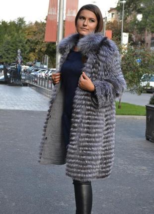 Кардиган из чернобурки, чернобурка в роспуск, пальто, шуба, шубка