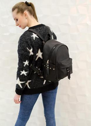 Дизайнерский рюкзак женский вместительный чёрный