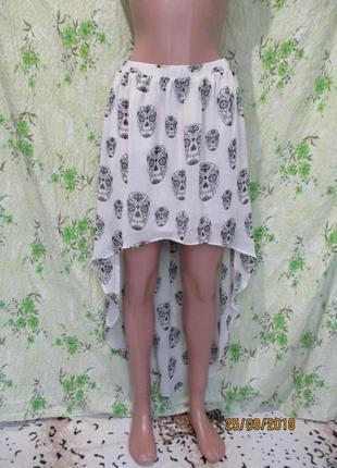 Шифоновая юбка со шлейфом принт черепа/хэллоуин 42-44 рахмер